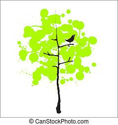 fågel, träd