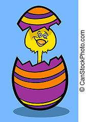 fågelunge, ägg, tecknad film, illustration, påsk