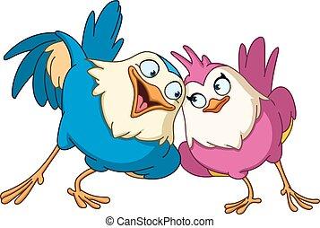 fåglar, älskande
