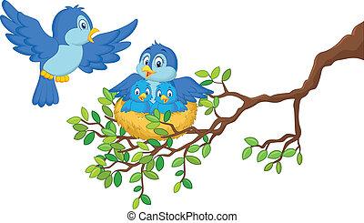 fåglar, med, henne, två, barnen, in, den, ne