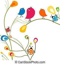 fåglar, och, nyckelpigor