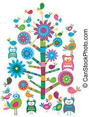 fåglar, och, träd