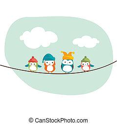 fåglar, på, a, tråd