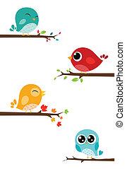 fåglar, sittande, på, grenverk
