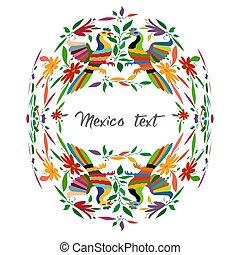 fåglar, stil, traditionell, mexikanare, broderi, stad, utrymme, mexico., text, hidalgo, isolerat, vävnad, påfågel, tenango, blommig, mellerst, avskrift, färgrik, komposition, cirkulär