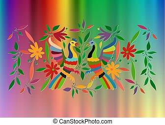 fåglar, stil, traditionell, mexikanare, broderi, stad, utrymme, tenango, mexico., eller, bakgrund, isolerat, komposition, vävnad, hidalgo, påfågel, blommig, multicolour, avskrift, färgrik, ram