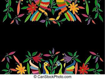 fåglar, stil, traditionell, mexikanare, broderi, stad, utrymme, tenango, mexico., eller, bakgrund, isolerat, komposition, vävnad, hidalgo, svart, påfågel, blommig, avskrift, färgrik, ram