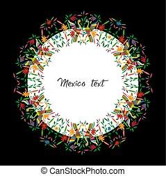 fåglar, stil, traditionell, mexikanare, stad, färgrik, utrymme, mexico., text, ram, isolerat, vävnad, blommig, hidalgo, broderi, tenango, påfåglar, mellerst, avskrift, komposition, cirkulär