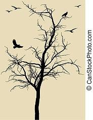 fåglar, vektor, träd