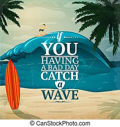 fånga, a, våg, surfingbräda, affisch
