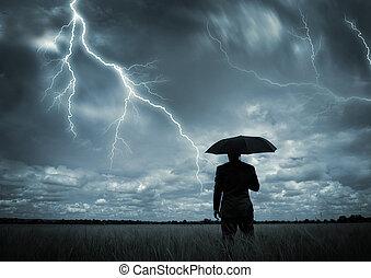 fångat, in, den, oväder