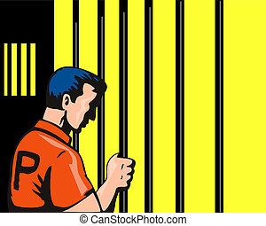 fånge, jailbar, holdingen