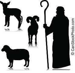 fåraherde, silhouettes, vektor