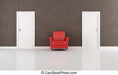 fåtölj, dörr, två, röd