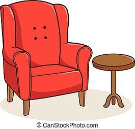 fåtölj, illustration, vektor, tabell., sida, röd