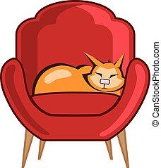 fåtölj, katt, sova