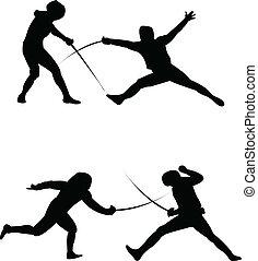 fægtning, silhuet, vektor, -