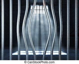 fængsel, 3, og, bended, metal frelser