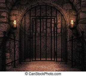 fængsel, slot, bagtæppe
