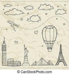 færdes turisme, illustration.