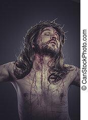 fé, christ, coroa, crucifixos, jesus, religião, ferida, ...