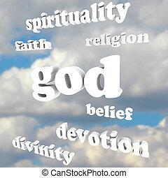 fé, divindade, espiritualidade, deus, religião, palavras,...