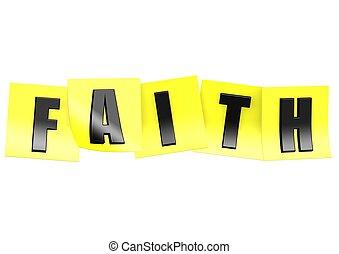 fé, em, nota amarela
