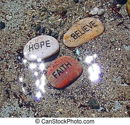 fé, esperança, acreditar, com, sunrays