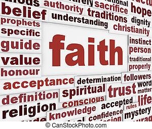 fé, mensagem, fundo