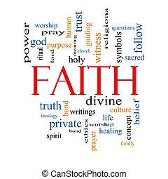 fé, palavra, nuvem, conceito