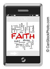 fé, palavra, nuvem, conceito, ligado, touchscreen, telefone