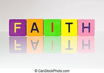 fé, -, um, inscrição, de, crianças, blocos