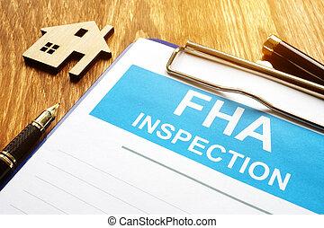 fédéral, administration, logement, fha, rapport, inspection, clipboard.