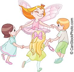 fée, enfants, danse