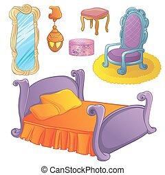 fée, ensemble, meubles, chambre à coucher