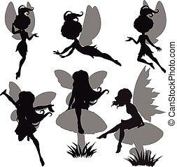 fée, ensemble, silhouette