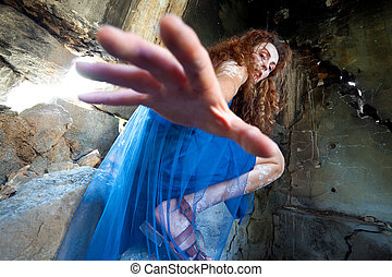 fée, femme, atteindre, main
