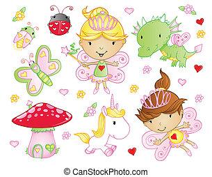 fée, fleurs, ensemble, princesse, animal
