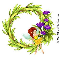 fée, fleurs, frontière, rond, violet