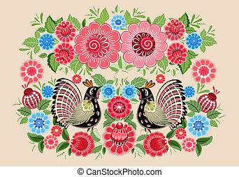 fée, fleurs, oiseaux