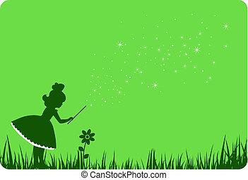 fée, flower., vert