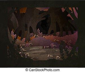 fée, forêt, conte, vecteur, fond, illustration., sombre