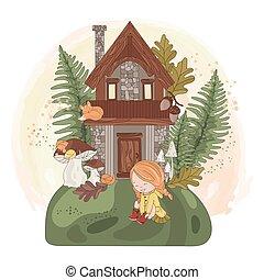 fée, nature, girl, ensemble, automne, illustration, maison, automne, vecteur