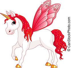 fée, queue, cheval, rouges