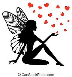 fée,  silhouette,  girl