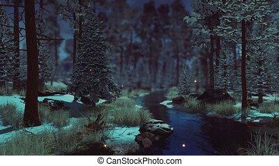 fée, sombre, hiver, 4k, forêt, surnaturel, lumières
