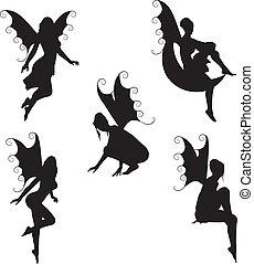 fée, vecteur, 5, silhouettes