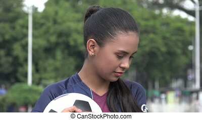 félénk, vagy, boldogtalan, spanyol, tizenéves lány, futball,...
