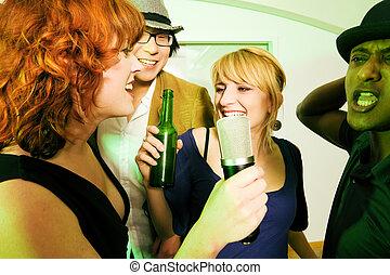 fél, barátok, csoport, karaoke