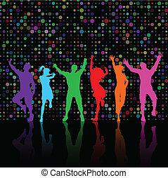 fél, emberek, tánc